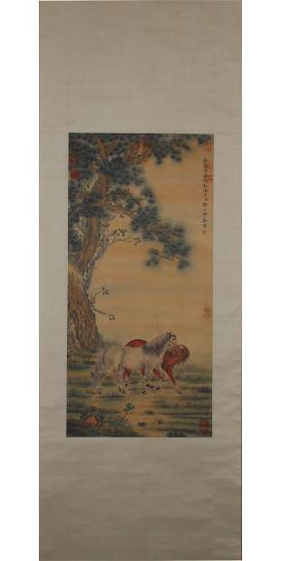 A PAINTING OF TWO HORSES & PINE TREE, LANG SHINING