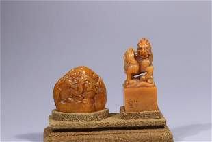 A PAIR OF SHOUSHAN STONE CARVING SEALS