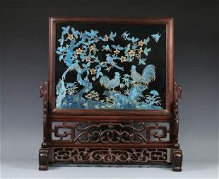 A KINGFISHER INLAID HARDWOOD CARVING TABLE SCREEN