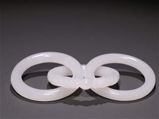 CHINESE JADE CARVING CHAIN RINGS
