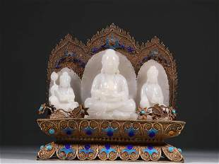 A SET OF JADE CARVING BUDDHAS ON GILT SILVER STAND