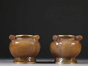 A PAIR OF GILT SILVER AGATE CARVING JARS