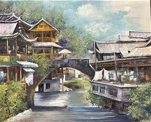A PAINTING OF WATER TOWN VIEW, PAN YULIANG
