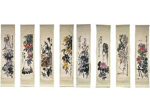 A EIGHT-PANEL PAINTING OF FLOWERS, QI BAISHI