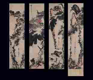 A FOUR-PANEL CHINESE PAINTING, PAN TIANSHOU