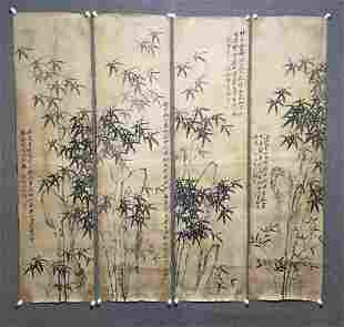 A FOUR-PANEL INK PAINTING OF BAMBOO, ZHENG BANQIAO