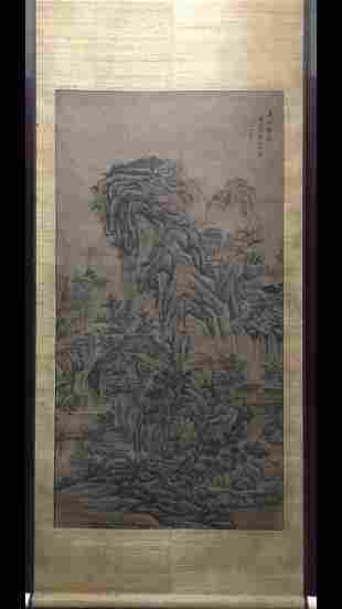 A CHINESE PAINTING OF MOUNTAIN VIEW, HUANG DING