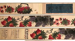 A HANDSCROLL PAINTING OF VARIOUS FRUITS, QI BAISHI