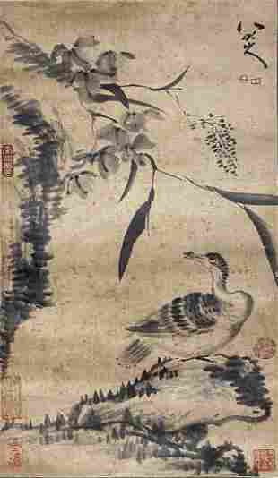 A CHINESE INK PAINTING OF DUCK, BADA SHANREN