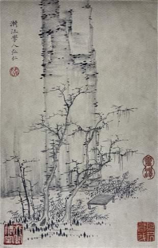 TRADITIONAL CHINESE PAINTING OF TREES, JIAN JIANG