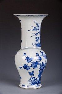 A BLUE AND WHITE 'BIRD & FLOWER' PHOENIX TAIL VASE