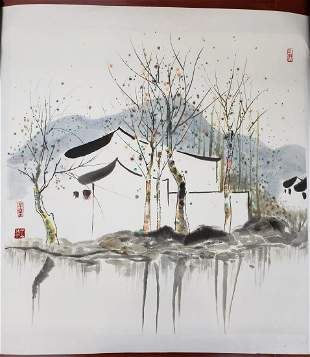 CHINESE PAINTING OF WATER TOWN SCENE, WU GUANZHONG