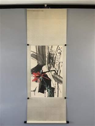 A CHINESE PAINTING OF LOTUS POND, HUANG YONGYU
