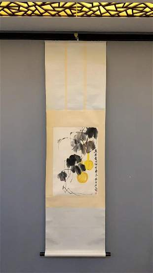 A CHINESE PAINTING OF GOURD VINES, QI BAISHI