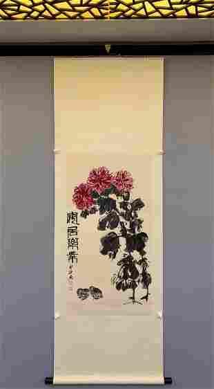 CHINESE PAINTING OF PEONY FLOWERS, QI BAISHI