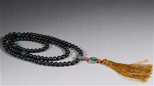 SILVER WIRE INLAID EAGLEWOOD CARVED PRAYER'S BEADS