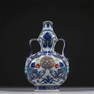 A BLUE AND WHITE ROBBIN-EAR FLAT DOUBLE GOURD VASE