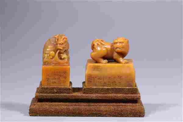 A PAIR OF SHOUSHAN STONE CARVING 'BEAST' SEALS
