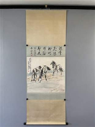 A CHINESE PAINTING OF THREE STEEDS, XU BEIHONG