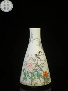 FAMILLE ROSE 'BIRD AND FLOWER' PORCELAIN VASE