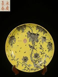 JAUNE GROUND INK-PAINTED 'BIRD AND FLOWER' PLATE