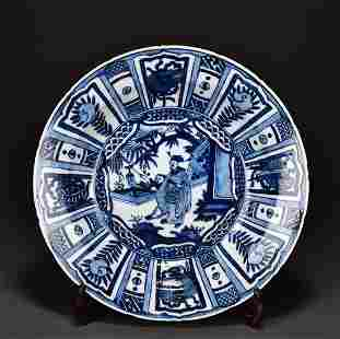 BLUE AND WHITE FIGURES PORCELAIN PLATE