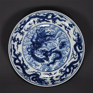 BLUE AND WHITE 'DRAGON AND WAVES' PORCELAIN PLATE