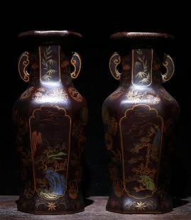 A PAIR OF LACQUERED OPEN FACE WOOD VASES
