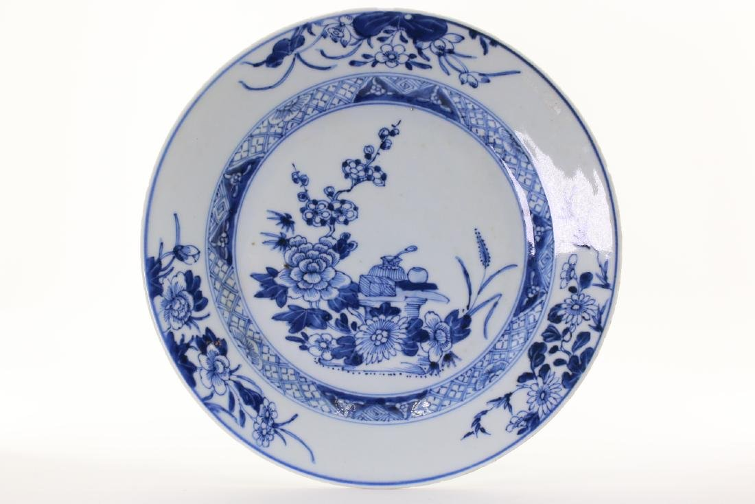 A Blue and White Porcelain Plate, Qing Dynasty