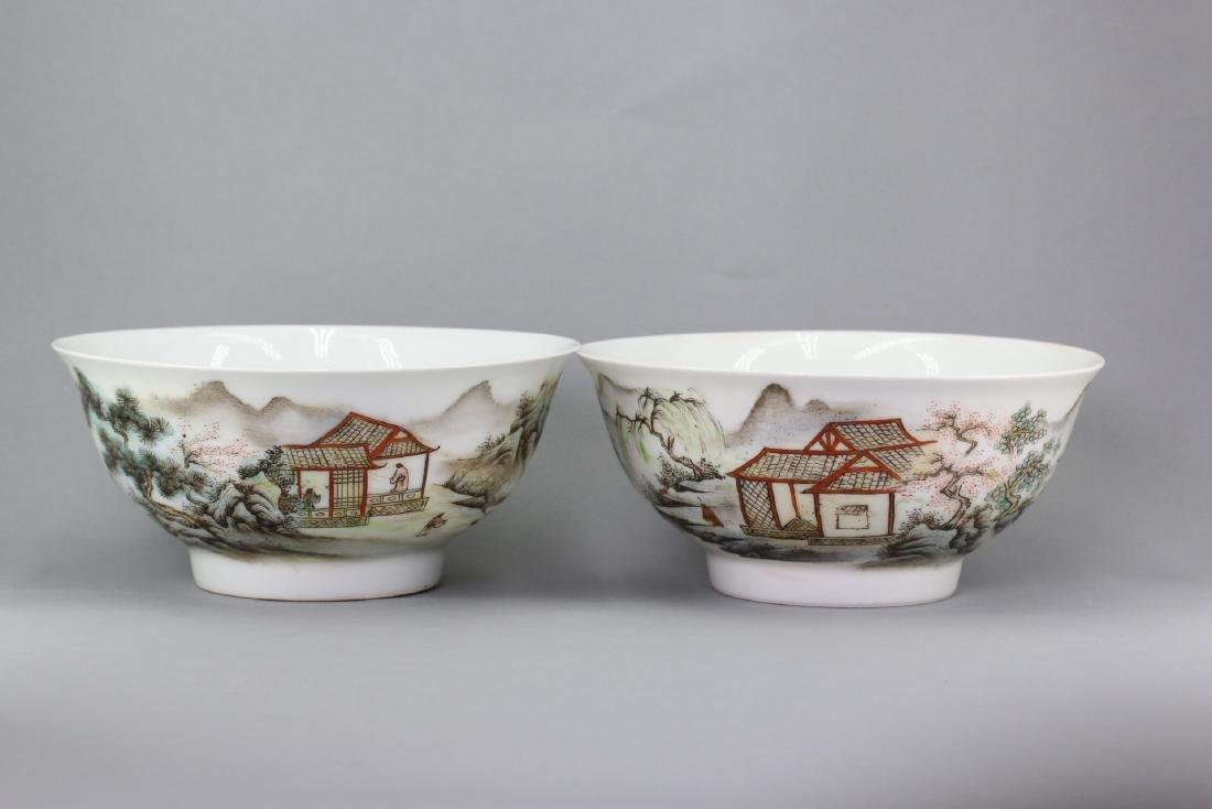 A Pair famille rose porcelain bowl