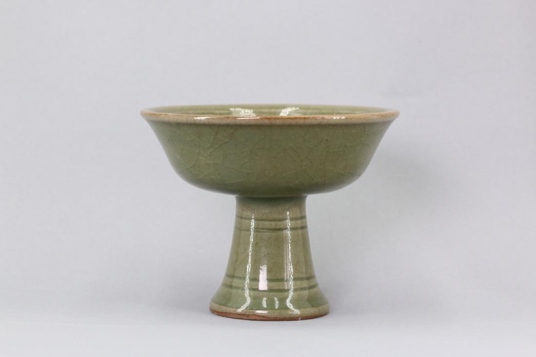 A Longquan Celadon-Glazed High Stem Cup,Ming dynasty
