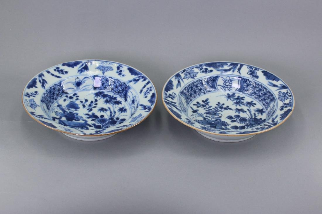A Pair of Blue and White Porcelain Saucer