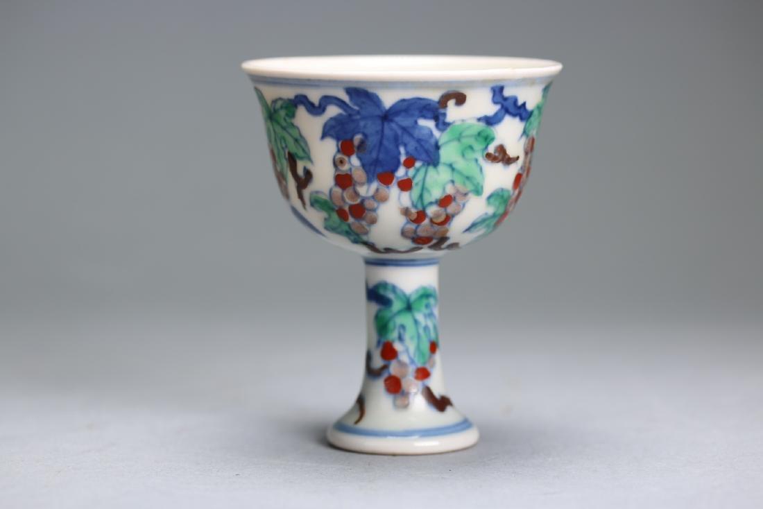 An Rare DOUCAI Stem Cup, Mark CHENGHUA