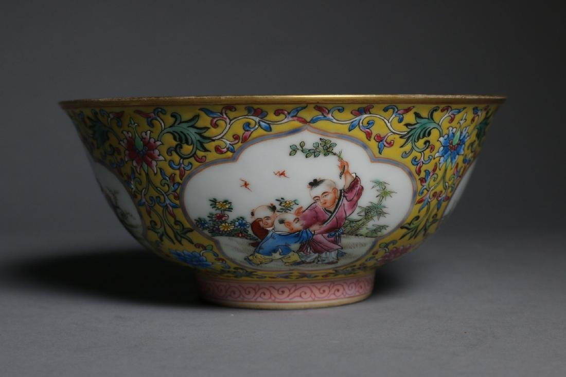 A Yellow-Ground Famille Rose Enamelled Bowl, Qian Long
