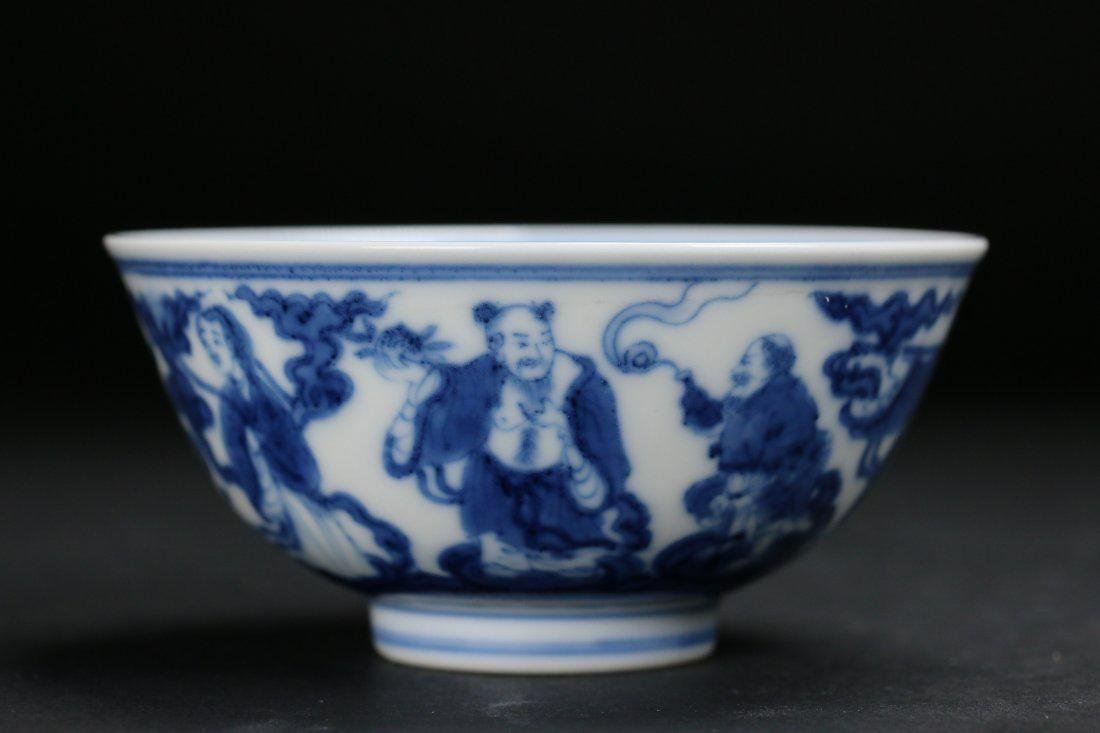 Imperial blue and white bowl, Guangxu mark and period