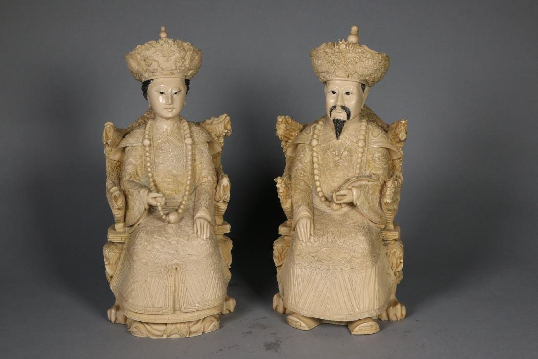 Pair Fine Carved Chinese Imperial figures