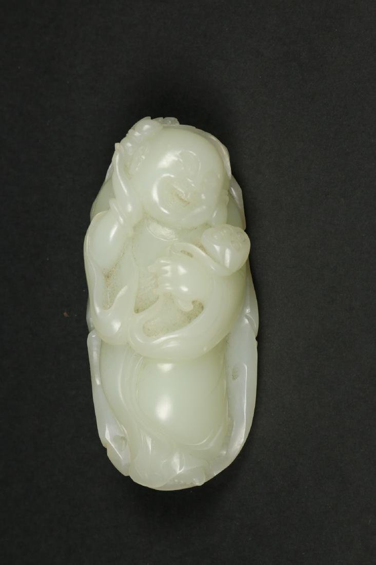 """A Hetian White Jade Carving""""fairy"""" Group,Late Qing"""