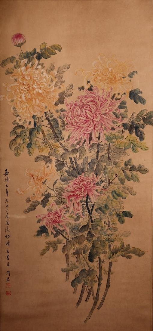 A Chinese Scroll Painting. Signed Zhou Chen