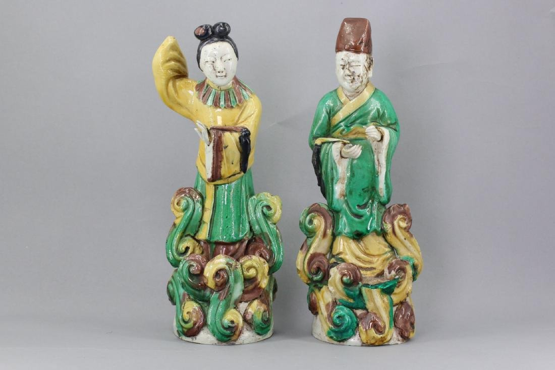 Two Chinese Sancai Figures
