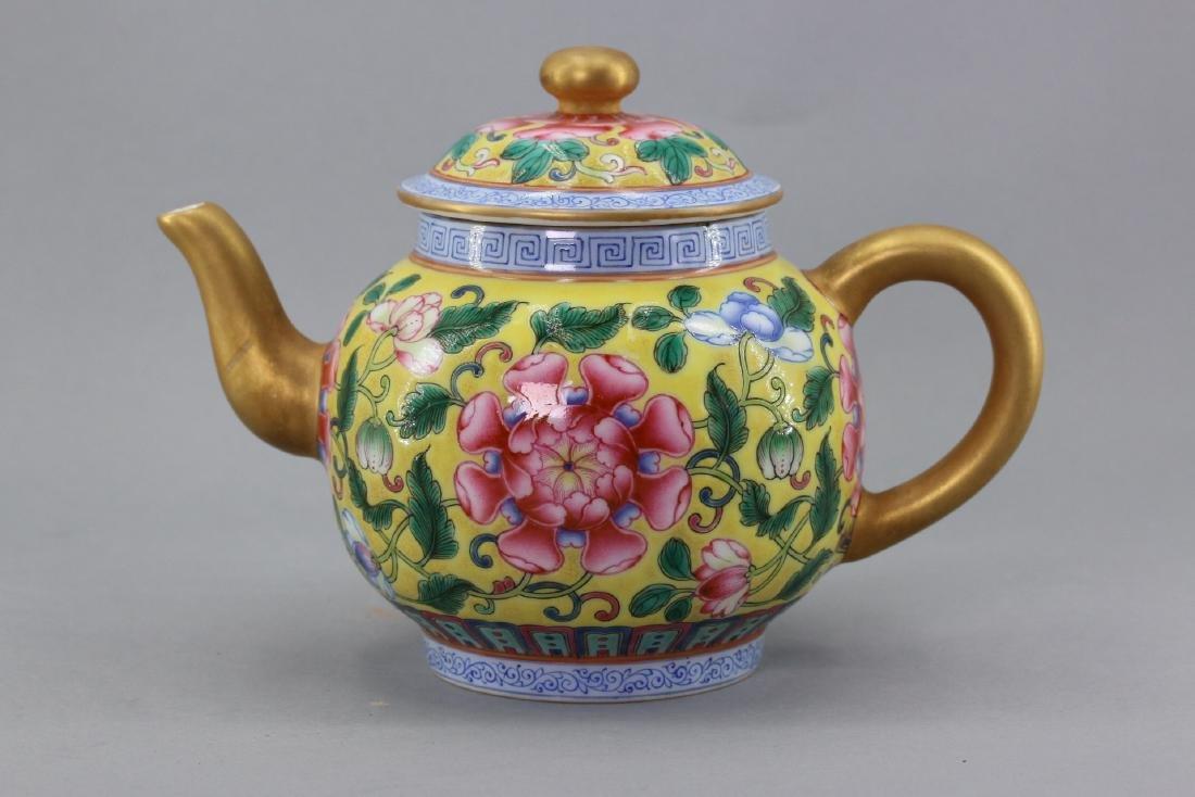 Yongzheng Mark, A Familie Rose Porcelain Teapot