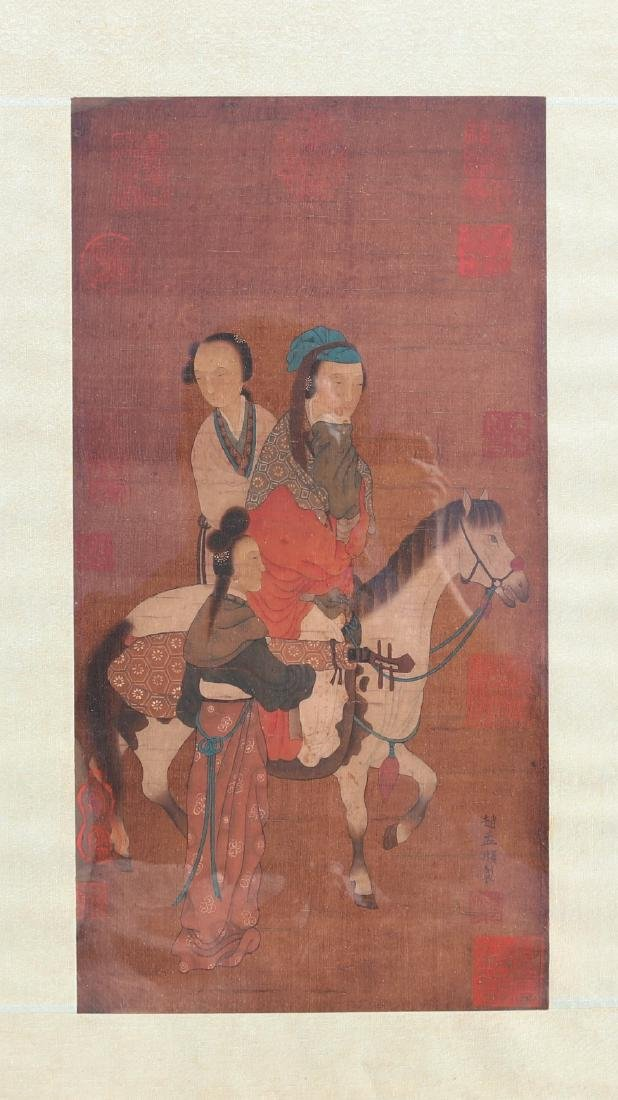 Antique Chinese ink and colour painting on silk