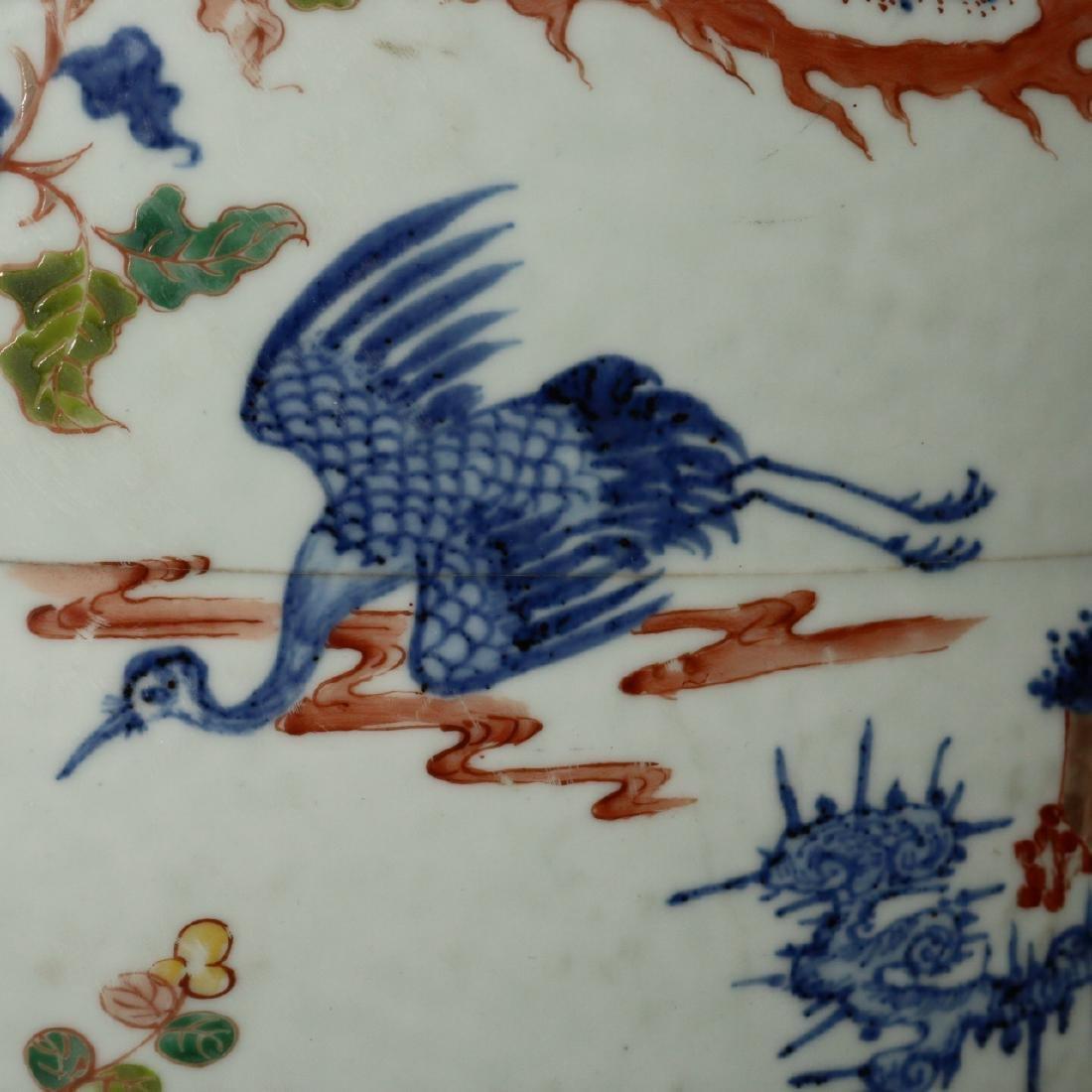 A large Chinese Wucai porcelain brushpot,Wanli marks - 8