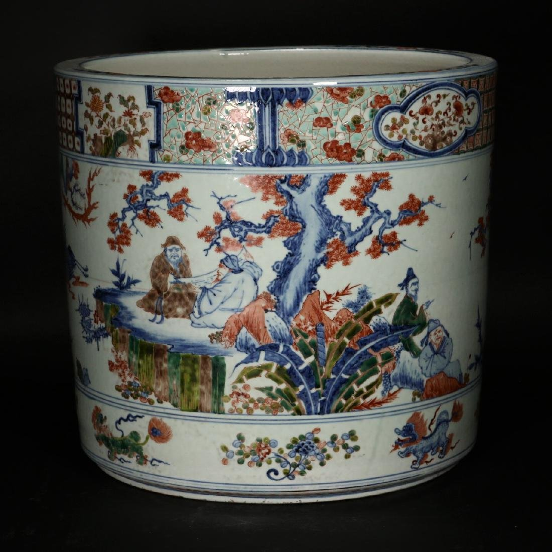 A large Chinese Wucai porcelain brushpot,Wanli marks