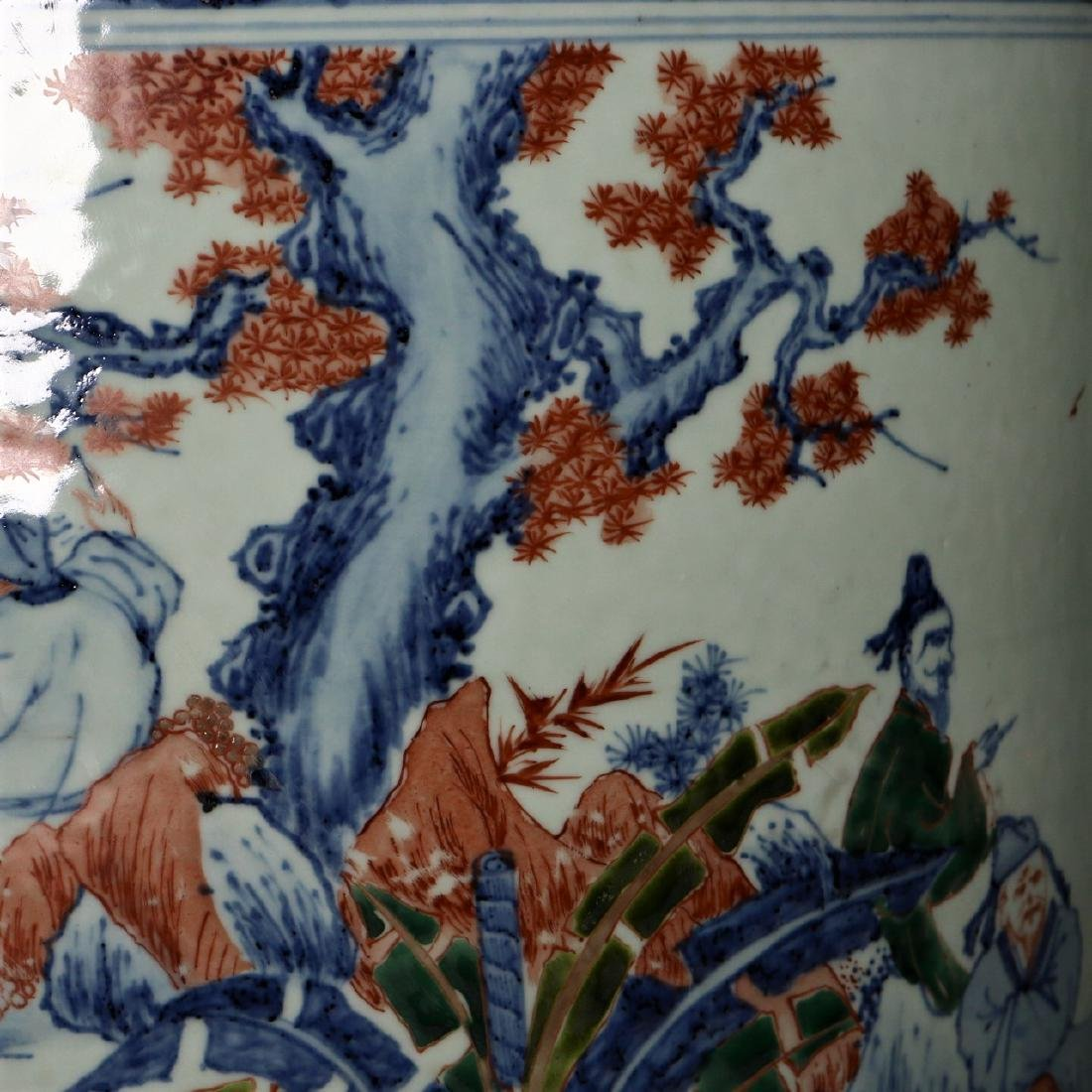 A large Chinese Wucai porcelain brushpot,Wanli marks - 2