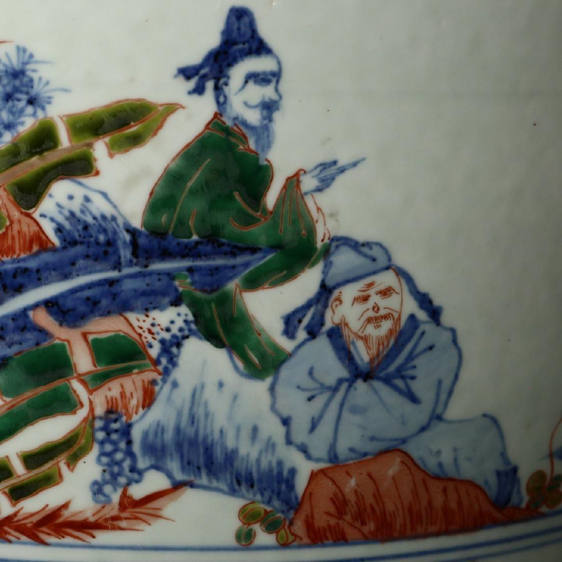A large Chinese Wucai porcelain brushpot,Wanli marks - 3