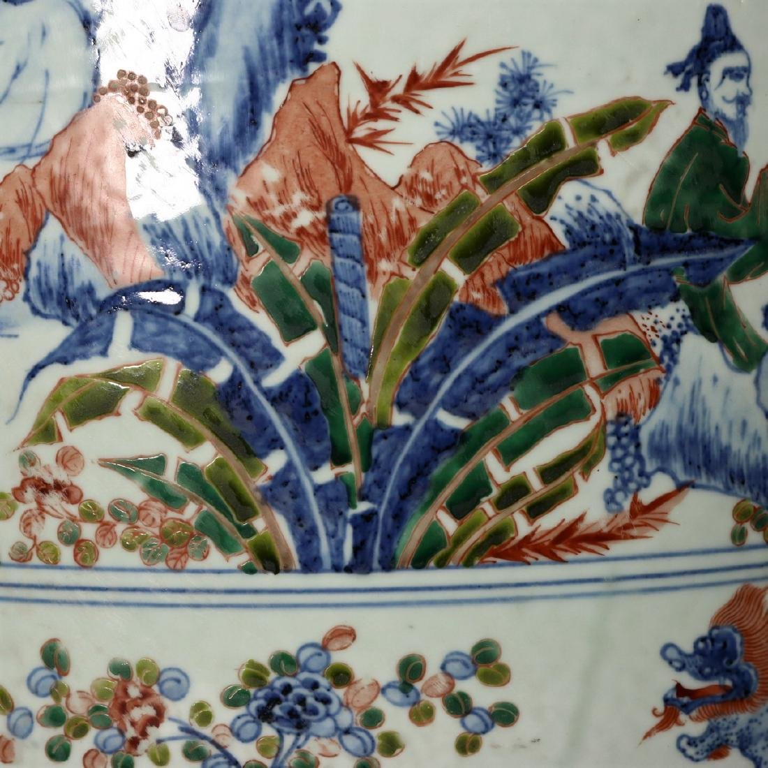 A large Chinese Wucai porcelain brushpot,Wanli marks - 4