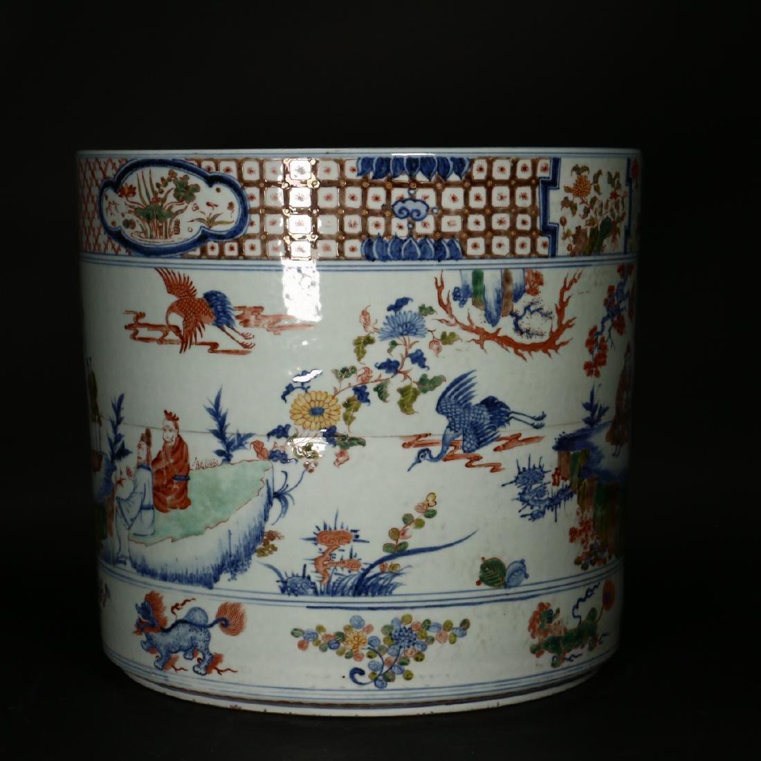 A large Chinese Wucai porcelain brushpot,Wanli marks - 7