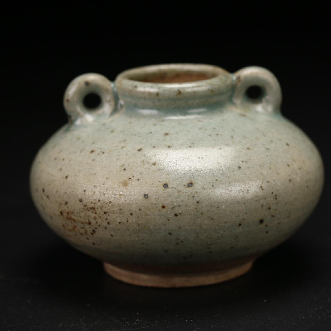 A Green-Glaze Waterpot with looped twin handles