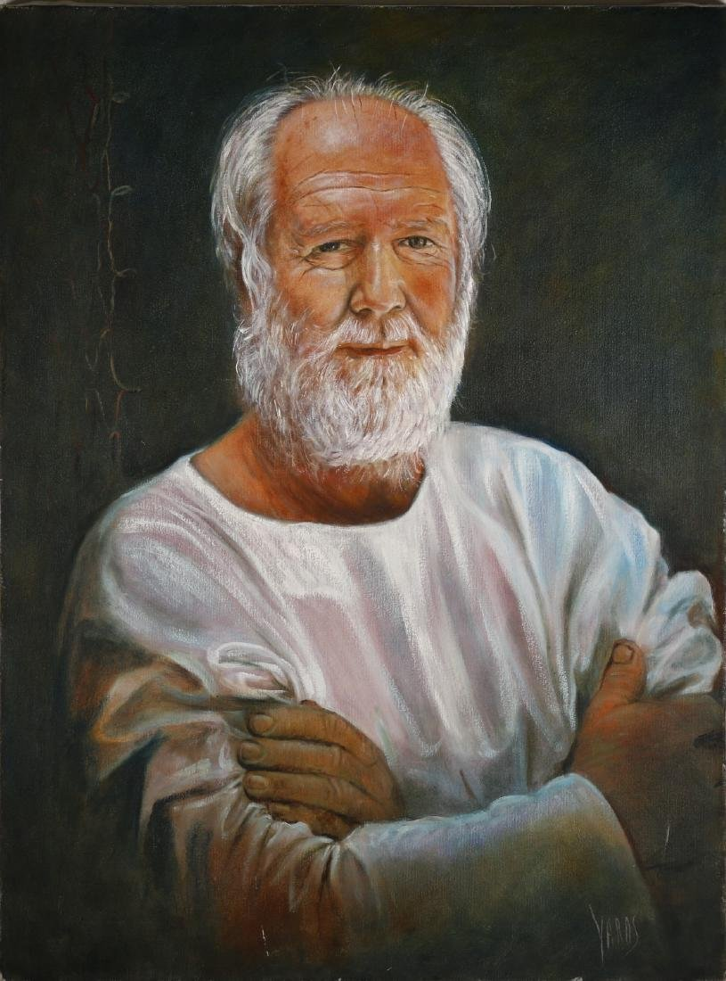 A Oil Painting of an Old Man's Portrait,Signed by Yards