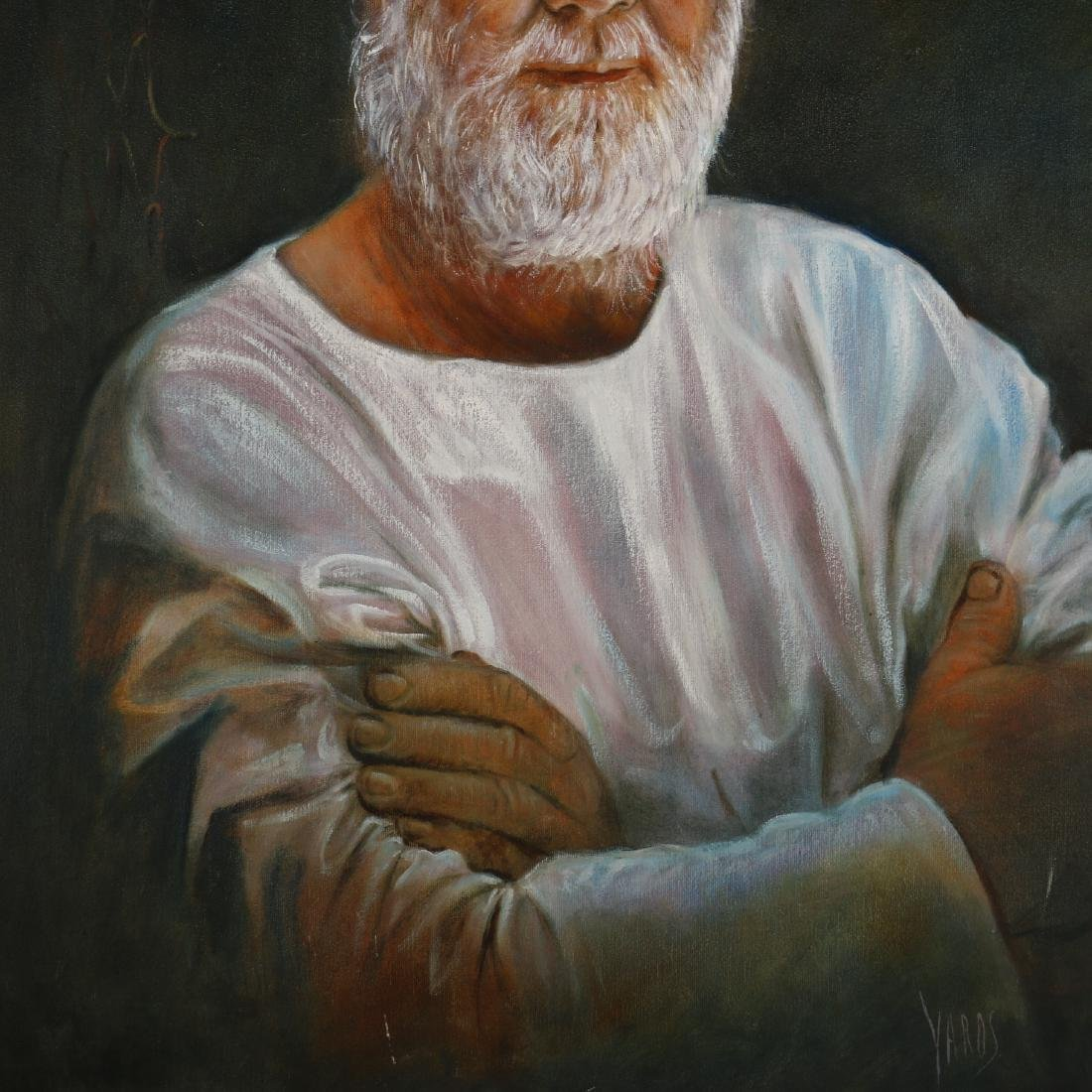 A Oil Painting of an Old Man's Portrait,Signed by Yards - 3